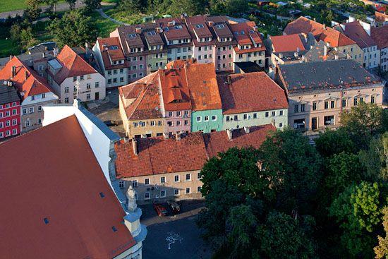 Kamienice w Lubomierzu. EU, Pl, Dolnoslaskie. Lotnicze.