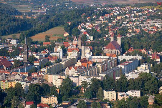 Lwowek Slaski, panorama of the city center. EU, PL, Dolnoslaskie. LOTNICZE.