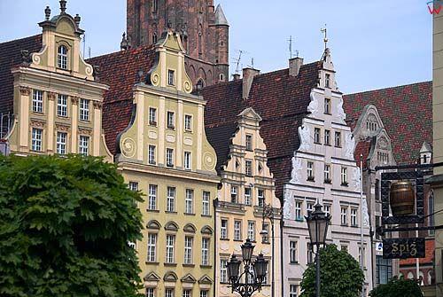 Dolnoslaskie. Wroclaw, kamienice po stronie zachodniej rynku.