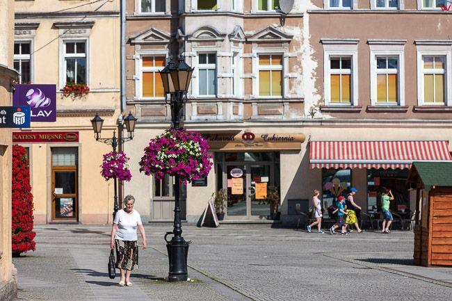 Zlotoryja, kamienice przy Rynku EU, PL, Dolnoslaskie.