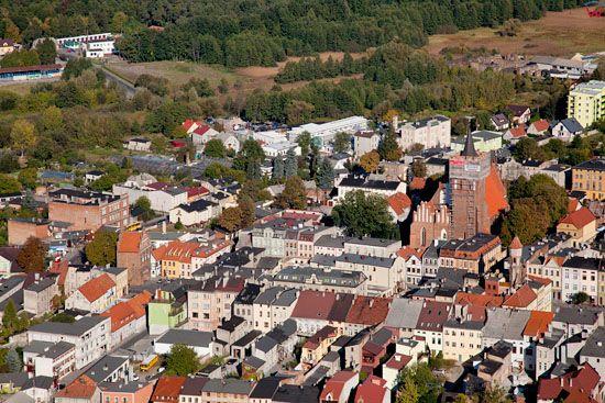 Lotnicze, EU, PL, Kujawslo - Pomorskie. Panorama na stare miasto w Brodnicy.