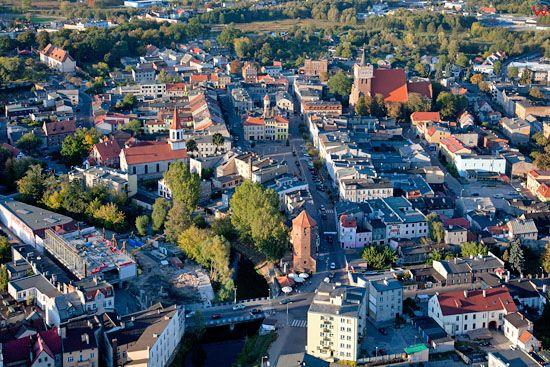 Lotnicze, EU, PL, Kujawsko - Pomorskie. Panorama na stare miasto w Brodnicy.
