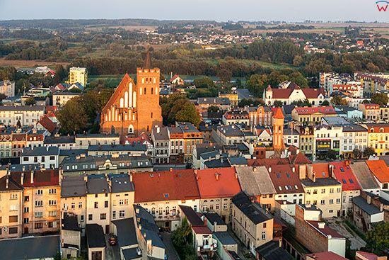 Brodnica, panorama Starego miasta od strony W. EU, PL, Pomorskie. Lotnicze.