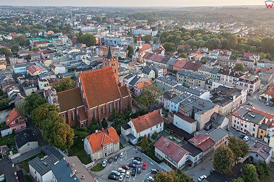 Brodnica, panorama Starego Miasta od strony NE. EU, PL, Pomorskie. Lotnicze.