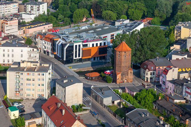 Brodnica, centrum miasta z wieza Bociania. EU, PL, Kujaw-Pom. Lotnicze.