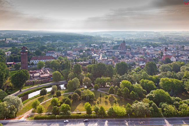 Brodnica, panorama miasta. EU, PL, Kujaw-Pom. Lotnicze.