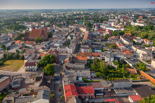 Brodnica, centrum miasta. EU, PL, Kujaw-Pom. Lotnicze.