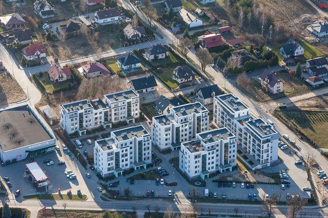 Brodnica, osiedle mieszkaniowe przy ul. Polnocnej. EU, PL, Kujawsko - Pomorskie. Lotnicze