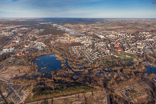 Brodnica, panorama na miasto od strony SW. EU, PL, Kujawsko - Pomorskie. Lotnicze