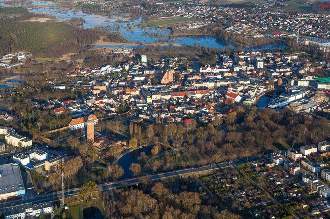 Brodnica, panorama miasta od strony W. EU, PL, Kujawsko - Pomorskie. Lotnicze