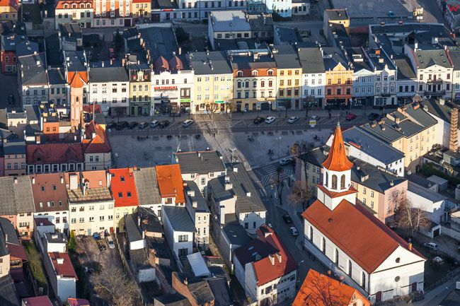 Brodnica, centrum starego miasta. EU, PL, Kujawsko - Pomorskie. Lotnicze