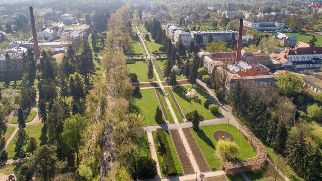 Ciechocinek, panorama na Partery Hellwiga. EU, PL, kujawsko-pomorskie. Lotnicze