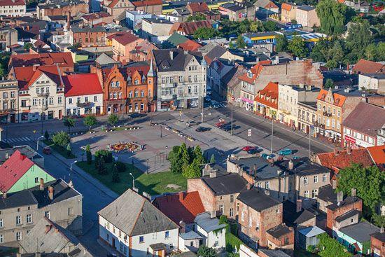 Strzelno. Rynek - centrum miasta. EU, Pl, Kujawsko-Pomorskie. LOTNICZE.