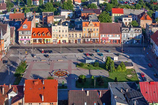 Strzelno. Rynek starego miasta. EU, Pl, Kujawsko-Pomorskie. LOTNICZE.