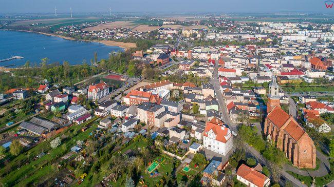Znin, panorama miasta. EU, PL, kujawsko - pomorskie. Lotnicze.