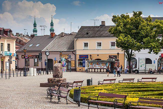 Lowicz, kamienice przy Trojkatnym Rynku. EU, PL, Lodzkie.