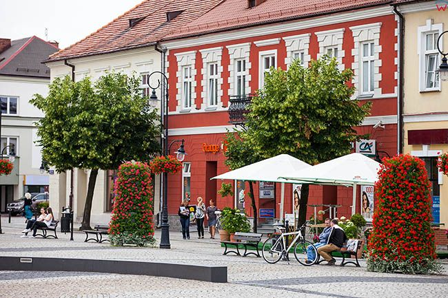 Sieradz, kamienice przy Rynku Starego Miasta. EU, Pl, Lodzkie.