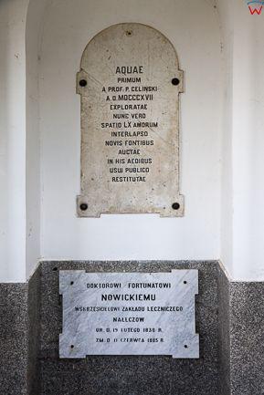 Naleczow, Stare Lazienki - tablice upamietniajace fundatorow. EU, PL, Lubelskie.