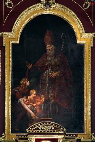 Obraz w ołtarzu głównym kościoła Świętego Mikołaja w Szczebrzeszynie