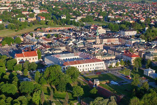 Zamosc - panorama od strony NW EU, PL, Lubelskie. LOTNICZE.