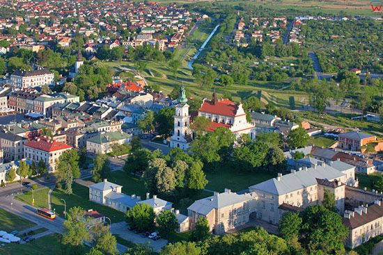 Zamosc - panorama na Katedre. EU, PL, Lubelskie. LOTNICZE.