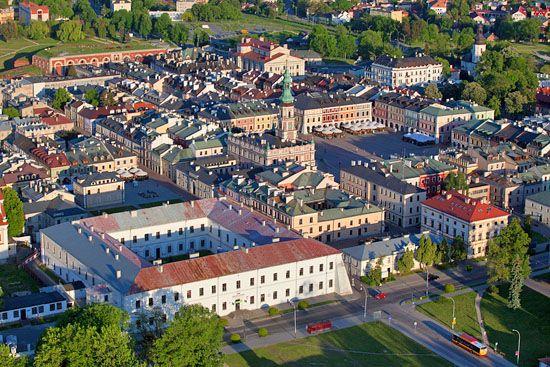 Zamosc - panorama na stare miasto. EU, PL, Lubelskie. LOTNICZE.