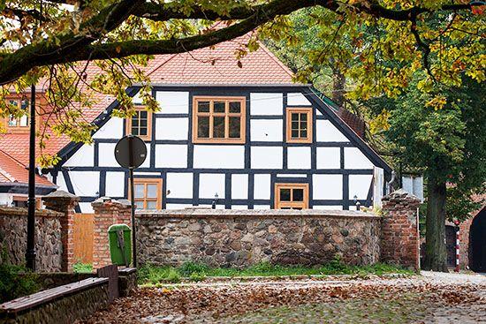 Lagow, dom szachulcowy przy ulicy Kosciuszki. EU, Pl, Lubuskie.