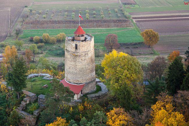 Czchow, ruiny zamku. EU, Pl, Malopolskie. Lotnicze.