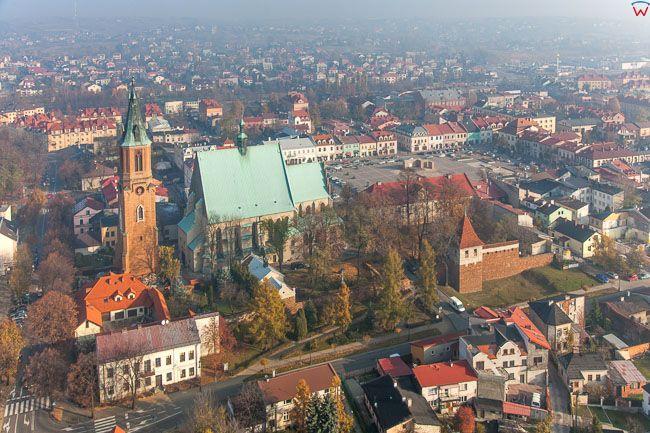 Olkusz, panorama starego miasta. EU, Pl, Malopolska. Lotnicze.