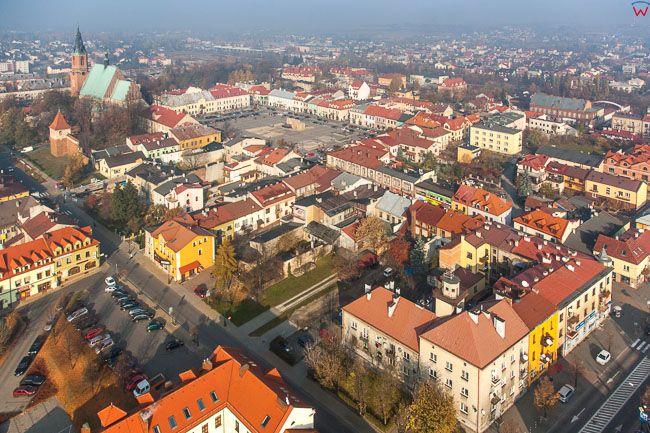 Olkusz, centrum miasta. EU, Pl, Malopolska. Lotnicze.