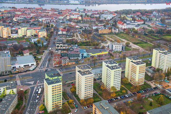 Plock, skrzyzowanie ulic Floriana Kobylinskiego z Bielska. EU, Pl, Mazowieckie. LOTNICZE.