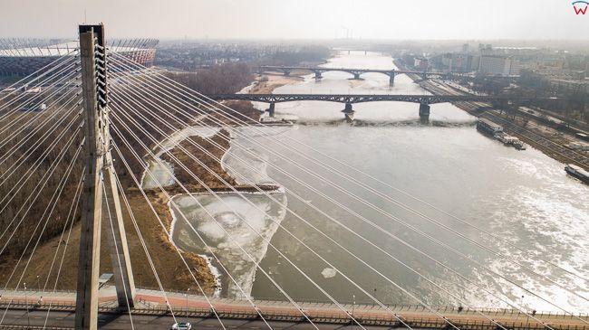 Warszawa, most Swietokrzyski na Wisle. EU, PL, mazowieckie. Lotnicze.