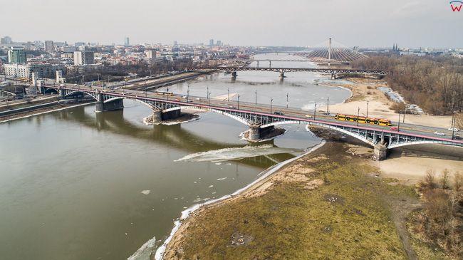 Warszawa, Most Poniatowskiego na Wisle. EU, PL, mazowieckie. Lotnicze.