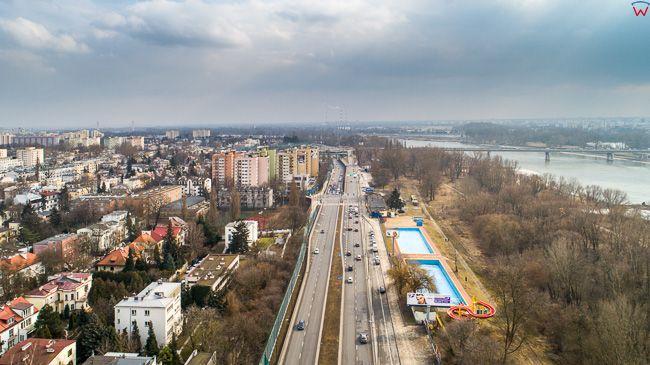 Warszawa, Wal Miedzeszynski i Saska Kepa. EU, PL, mazowieckie. Lotnicze.