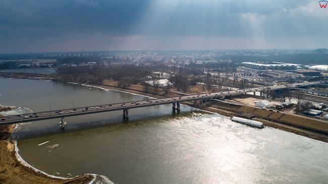 Warszawa, Most Lazienkowski. EU, PL, mazowieckie. Lotnicze.