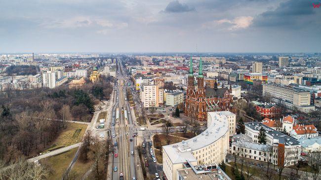 Warszawa, Katedra Praska i Aleja Solidarnosci. EU, PL, mazowieckie. Lotnicze.
