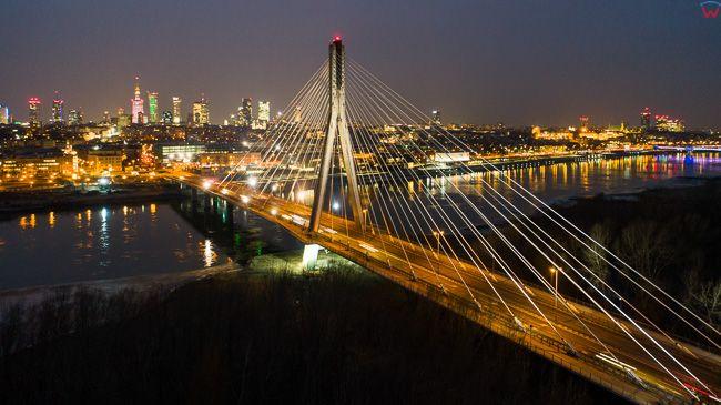 Warszawa, most Swietokrzyski na tle Srodmiescia. EU, PL, mazowieckie. Lotnicze.