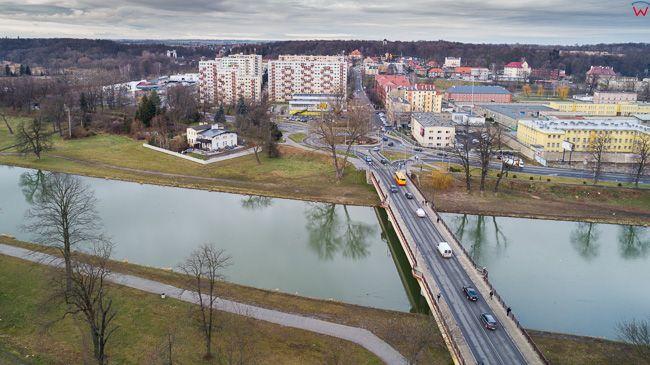 Nysa, most Tadeusza Kosciuszki. EU, Pl, opolskie. Lotnicze.