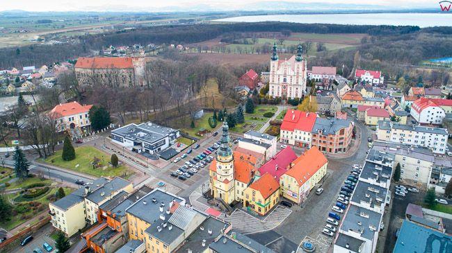 Otmuchow, lotnicza panorama miasta. EU, Pl, opolskie. Lotnicze.