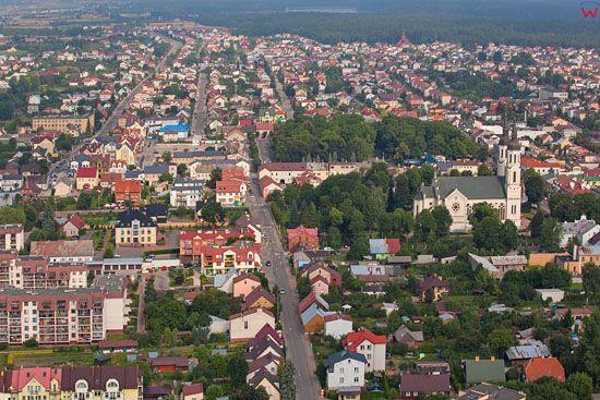 Augustow, ulica Ksiedza Skorupki. EU, PL, Podlaskie. Lotnicze.