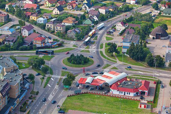 Augustow, Rondo NSZZ Solidarnosc. EU, PL, Podlaskie. Lotnicze.
