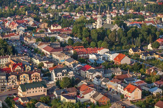 Augustow, Centrum miasta. EU, PL, Podlaskie. Lotnicze.