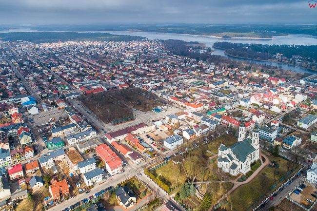 Augustow, Centrum - Rynek Zygmunta Augusta. EU, Pl, Podlaskie. Lotnicze.