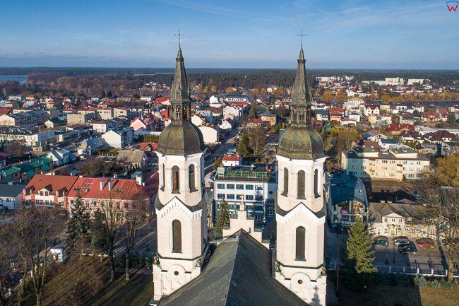Augustow, wieze Bazyliki Mniejszej. EU, Pl, Podlaskie. Lotnicze.