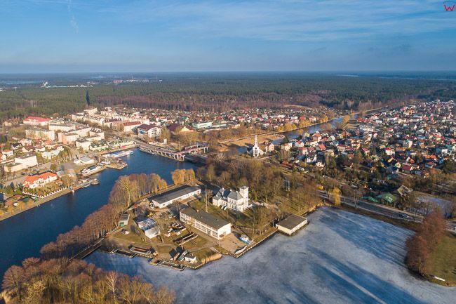 Augustow, Kanal Augustowski i rzeka Netta. EU, Pl, Podlaskie. Lotnicze.