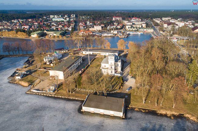 Augustow, Kanal Augustowski i port pasazerski. EU, Pl, Podlaskie. Lotnicze.