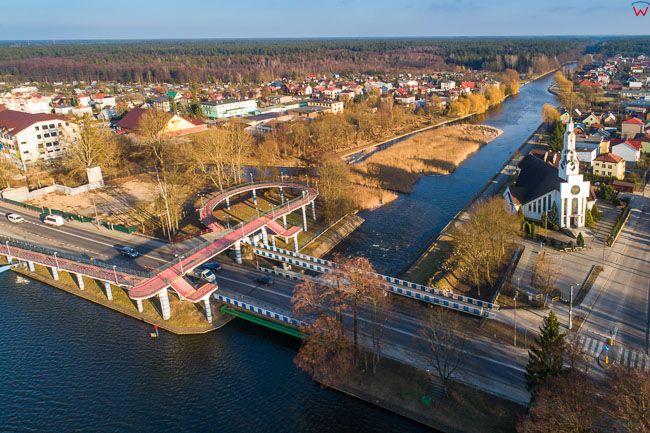 Augustow, ul. 29 Listopada i Kanal Bystry. EU, Pl, Podlaskie. Lotnicze.