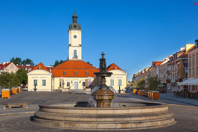 Bialystok, fontana na tle Ratusza. EU, PL, Podlaskie.