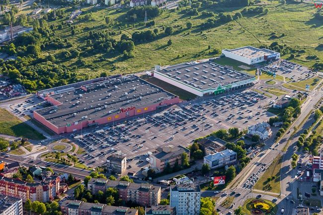 Bialystok, centrum handlowe przy ul. Hetmanskiej. EU, PL, Podlaskie. Lotnicze.