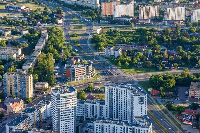 Bialystok, okolica ul. Mazowieckiej i Wiejskiej. EU, PL, Podlaskie. Lotnicze.